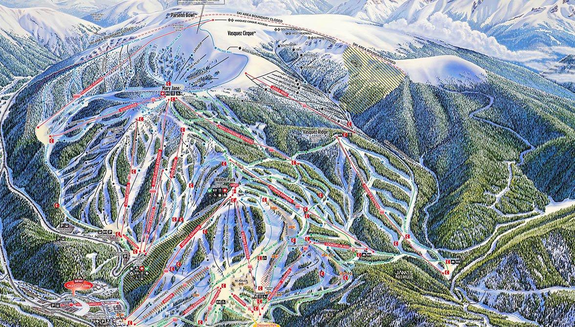 Winter Park Ski Map Winter Park | Mountain Escapes